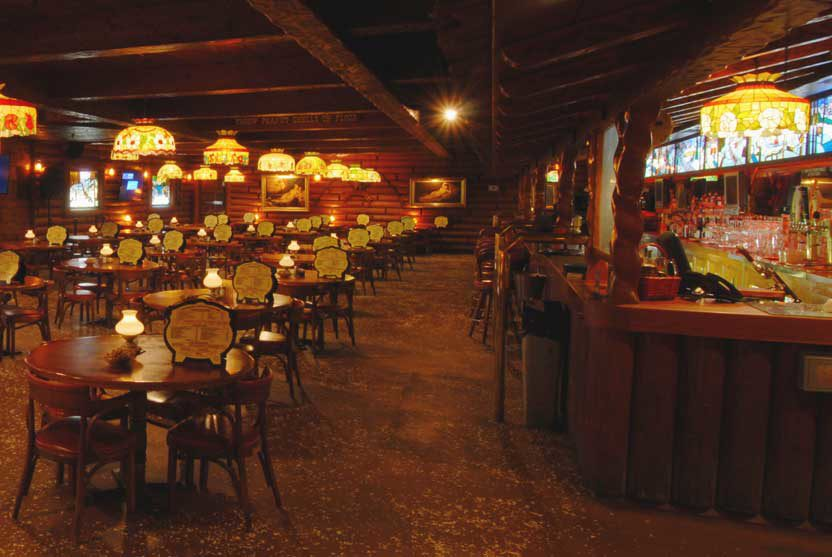 Long walk past the bar in the La Mirada restaurant